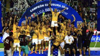Tigres celebra al conquistar el título del Clausura 2019