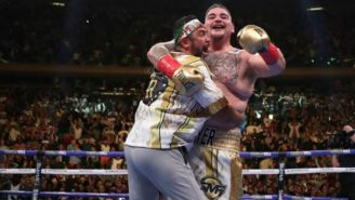 Andy Ruiz celebra tras derrotar a Anthony Joshua
