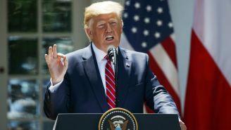 Donald Trump durante su gira por Polonia