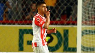 Jairo González festeja un gol con Necaxa en el Clausura 2017