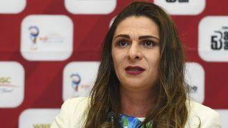 Ana Guevara, durante una conferencia de prensa
