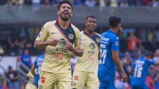 Oribe, en un partido con América en el Estadio Azteca