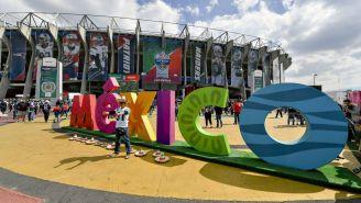 Estadio Azteca decorado para el juego de NFL en 2017
