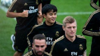 Kubo, en un entrenamiento de pretemporada del Real Madrid