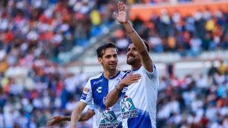 Franco Jara festeja un gol con Pachuca