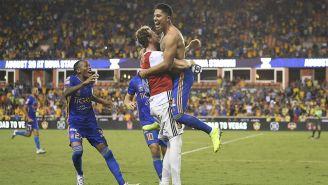 Tigres celebra el triunfo frente al América en la Leagues Cup