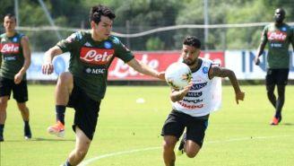 Chucky Lozano en su primer entrenamiento con el Napoli
