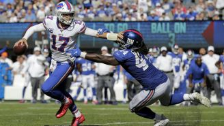 Josh Allen en acción en el Bills vs Giants