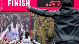 Eliud Kipchoge tras cruzar la meta
