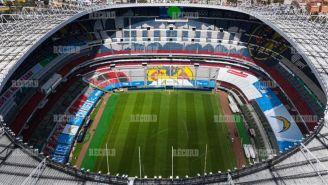 Así lucía el miércoles la cancha del Estadio Azteca