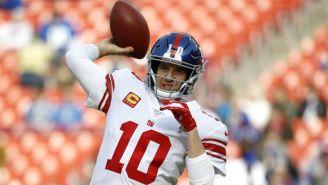 Eli Manning durante un partido con los Giants