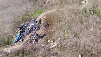 VIDEO: Los restos del helicóptero de Kobe Bryant