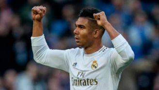Casemiro festeja un gol con el Real Madrid