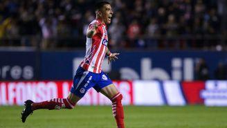 Luis Reyes festeja un gol con Atlético de San Luis