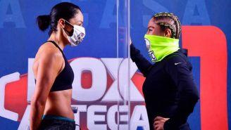 Ceremonia de pesaje de Jackie Nava y la Chacala Valverde