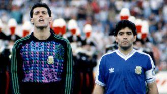 Diego Maradona junto a  Sergio Goycochea en Italia 90