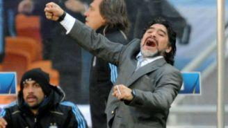 Diego Maradona en festejo como DT de Argentina