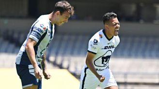 Sebastián Saucedo tras anotar el primer gol de Pumas ante Pachuca