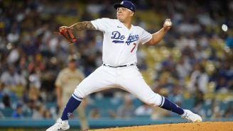 Julio Urías durante el partido entre Dodgers y Padres