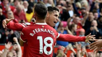 Cristiano Ronaldo y Bruno Fernandes festejando un gol a favor del United