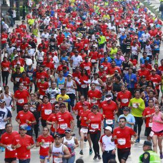Corredores, durante la edición del XXXV Maratón de la Ciudad de México