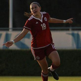 Norma Palafox celebra uno de sus goles con el Tri Sub 20