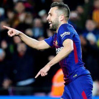 Jordi Alba celebra con el Barcelona