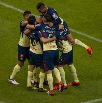 América festeja el gol de Bruno Valdez contra Atlas