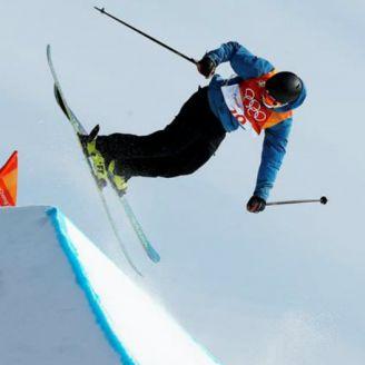 Franco durante la prueba de slopestyle de esquí acrobático