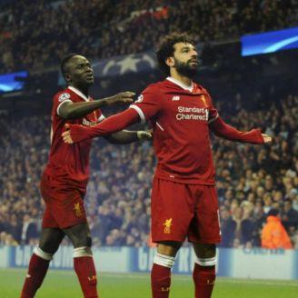 Mohamed Salah celebra gol contra el Man City