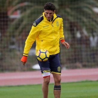 Peñalba, durante un entrenamiento con Las Palmas