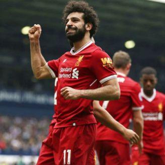 Mohamed Salah celebra gol contra West Bromwich Albion