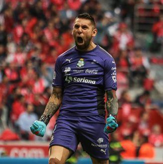 Jonathan Orozco celebra el gol de Santos en la Final contra Toluca
