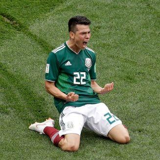 Lozano festeja su gol frente a Alemania en Rusia 2018