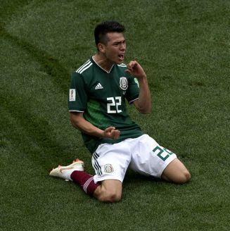 Chucky Lozano celebra su gol ante Alemania