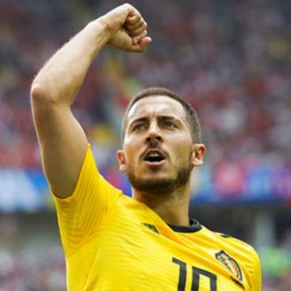 Hazard celebra gol en el Mundial