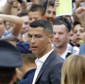 Cristiano en su llegada al Juventus Stadium