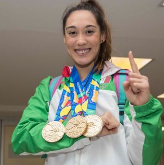 Daniela Rodríguez presume sus tres medallas centroamericanas