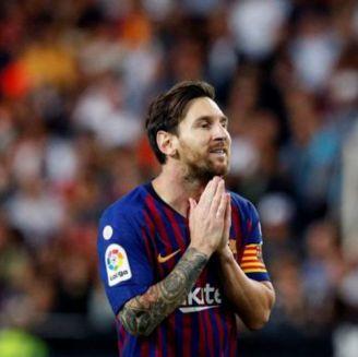 Messi durante el partido vs Valencia