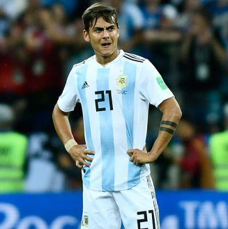 Paulo Dybala en un partido con la selección de Argentina