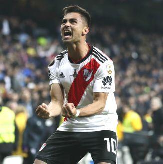 Gonzalo Martínez celebra su anotación frente al Boca Juniors