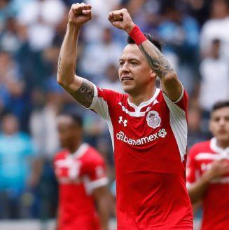 Salinas celebra un gol con Diablos