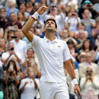 Novak Djokovic celebra luego de vencer a Roger Federer