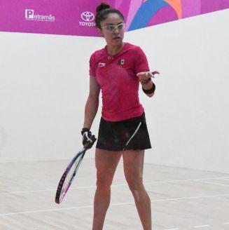 Paola Longoria durante su participación en Lima 2019