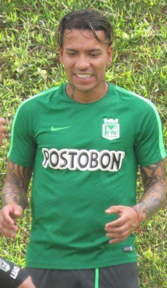 Dayro Moreno, durante un entrenamiento con Atlético Nacional