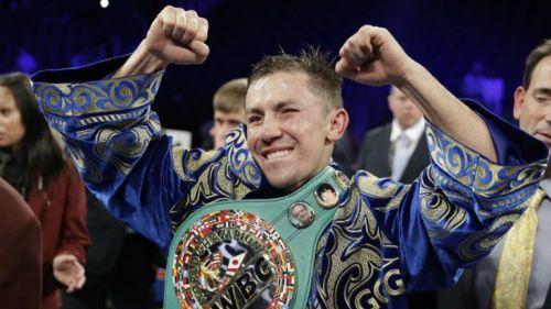 Golovkin festeja tras la pelea contra Saúl Álvarez