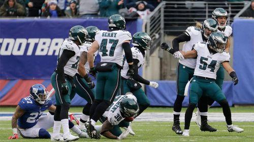 Philadelphia Eagles celebra un bloqueo de patada de despeje