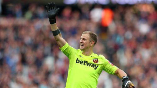 Joe Hart en un partido con el West Ham