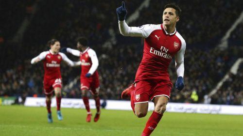 Alexis Sánchez festeja un gol con el Arsenal