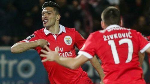 Jiménez grita su gol contra el Feirense